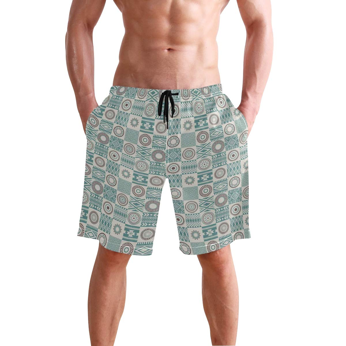 COVASA Mens Summer ShortsCheckered Squares with Ethnic Motifs Rhombuses Circle