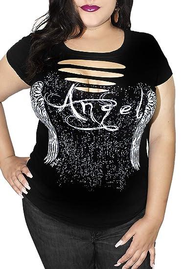 11f4567174047 Sexy Angel Wings Motorcycle Tattoo DIY Biker Tee | Cute Curvy Sexy Plus  Size Goth T-Shirt Top …