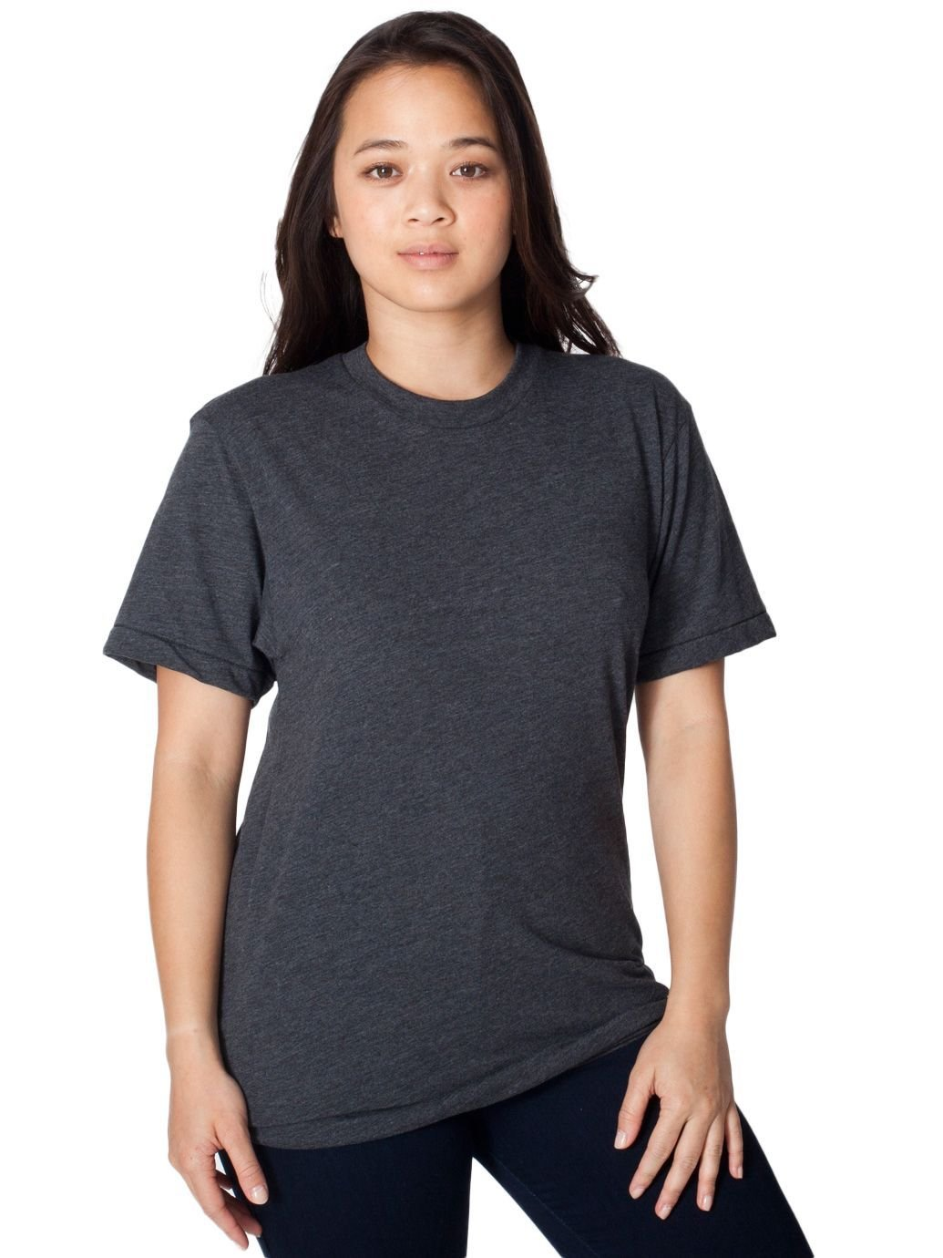 American Apparel Unisex 50/50 Heather/Black Short Sleeve T-shirt M