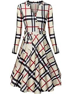 07934e330b5 Diphi LiLi Women s V Neck Long Short Sleeve Button Decoration Plaid Swing  Dress