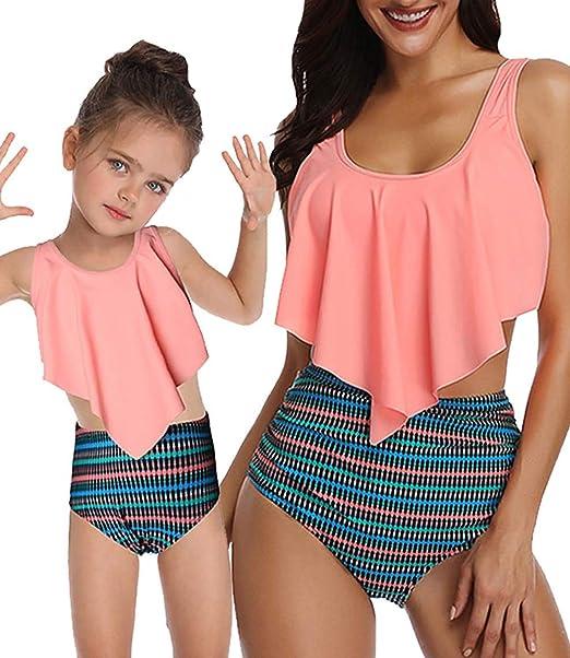 5e52f57a49f8 2 Pcs Mommy and Me Bikini Swimsuits High Waisted Ruffle Halter Family  Matching Swimwear Girls Women