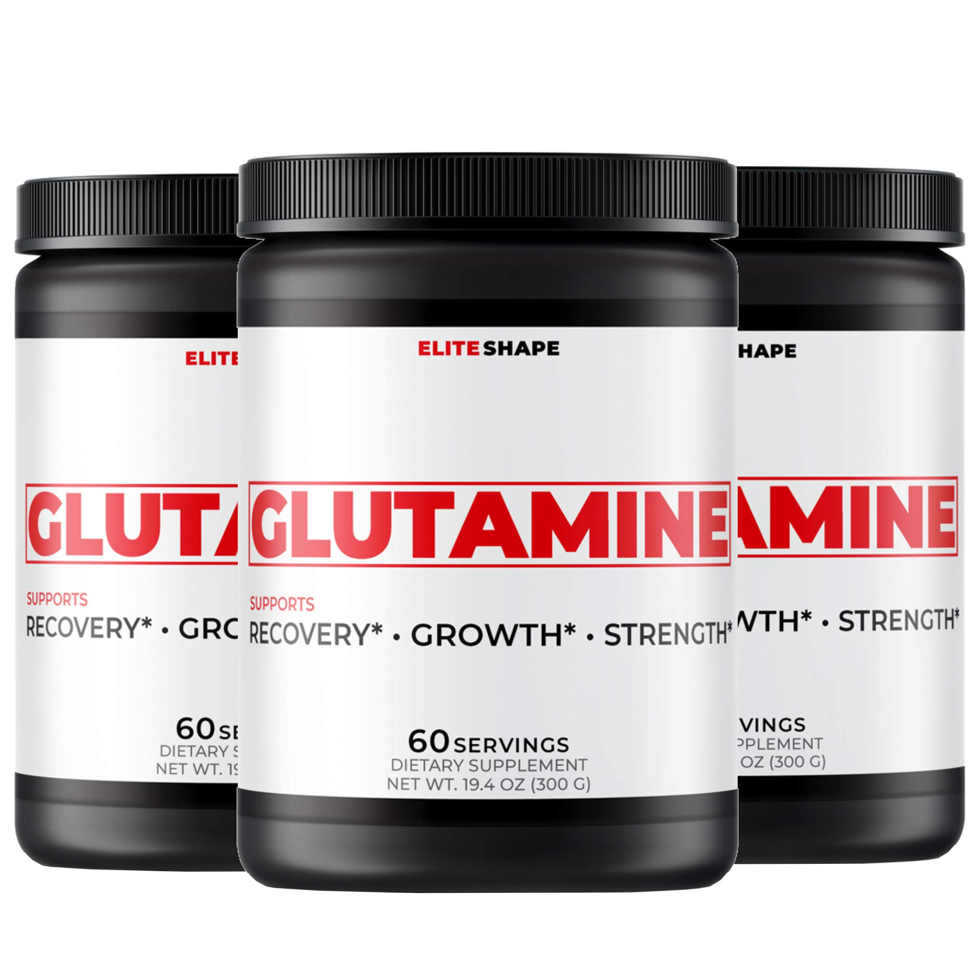 Glutamine by Elite Shape | Sports and Fitness Dietary Supplement | 100% Pure L-Glutamine for Muscle Recovery and Strength | 60 Servings (3)
