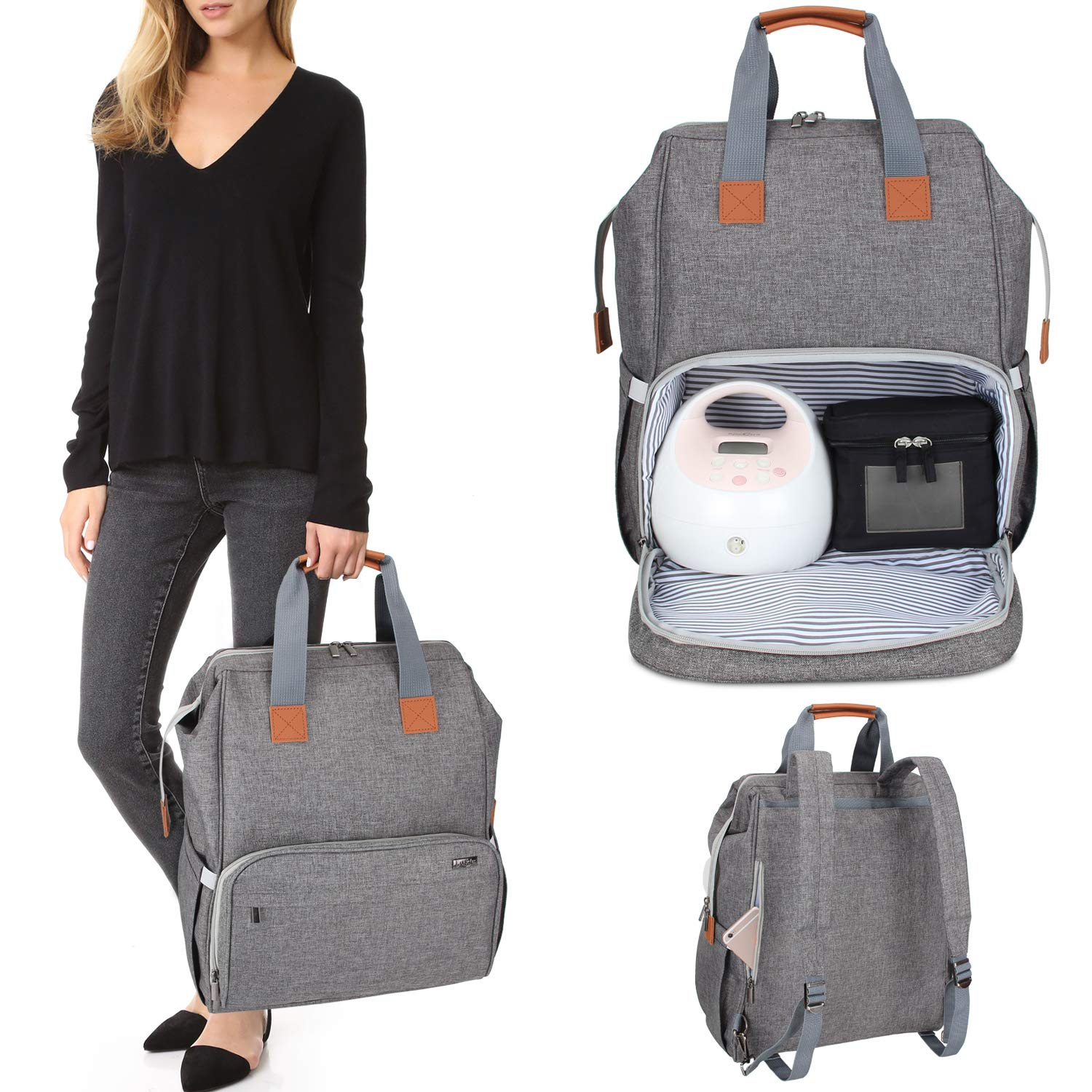 Luxja Breast Pump Bag with Compartments for Cooler Bag and Laptop, Breast Pump Backpack with 2 Options for Wearing (Fits Most Major Breast Pump, Suitable for Working Mothers), Gray by LUXJA