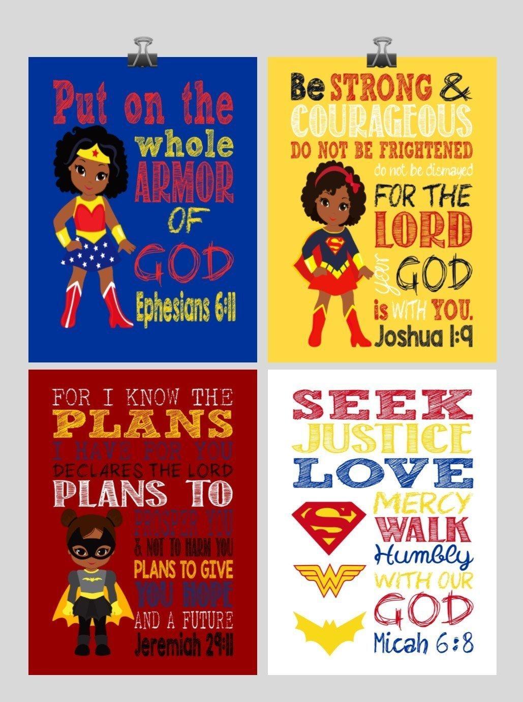 African American Superhero Set of 4 - Christian Wall Art Print - Supergirl, Batgirl, Wonder Woman - Bible Verse Nursery, Playroom or Kids Room Decor - Multiple Sizes