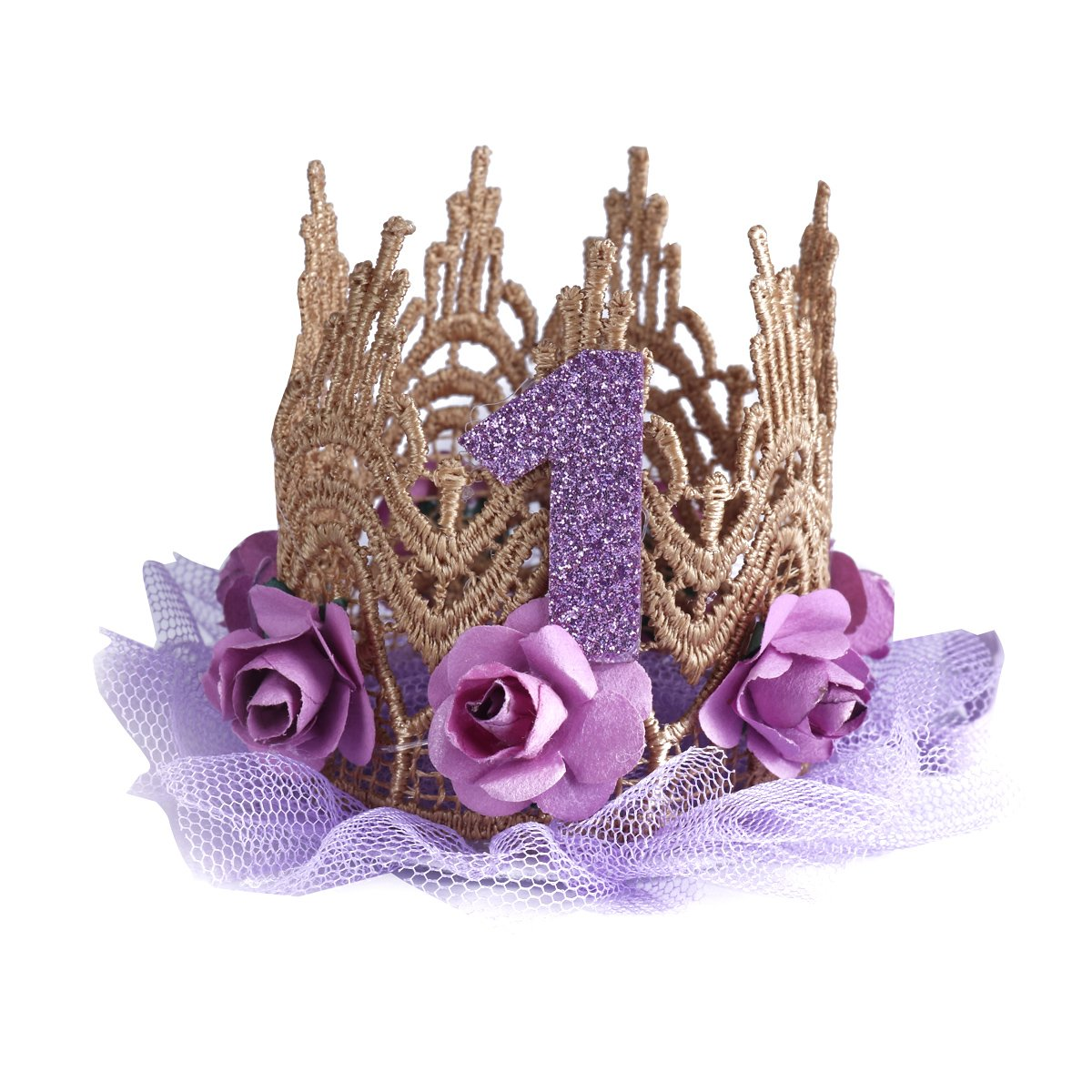 Freebily Kids Baby Sparkly 1st Birthday Lace Rose Flower Princess Crown Party Hat Hairbands Purple One Size