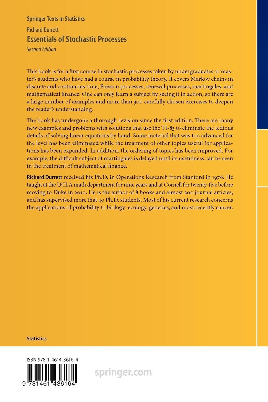 Essentials of Stochastic Processes: Richard Durrett: 9781461436164:  Amazon.com: Books