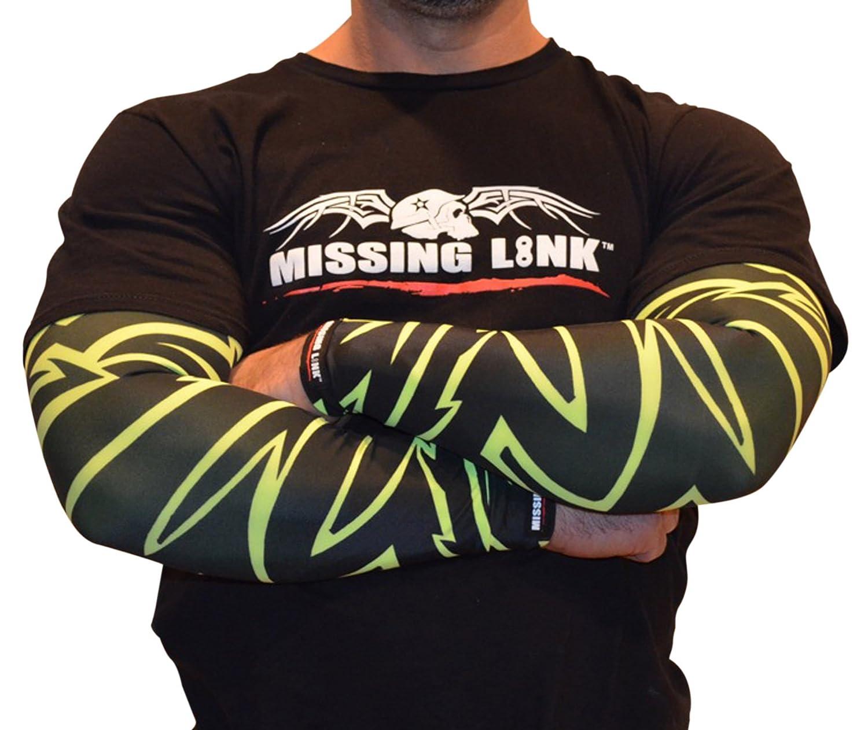 HiViz Green//Black, Large APHTL Missing Link SPF 50 HiViz Tribal ArmPro