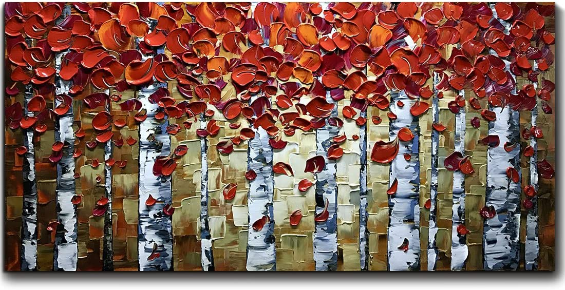 V-inspire Paintings, 24×48 Inch Paintings Oil Hand Painting Red Birch Trees Painting 3D Hand-Painted On Canvas Abstract Artwork Art Wood Inside Framed Hanging Wall Decoration Abstract Painting