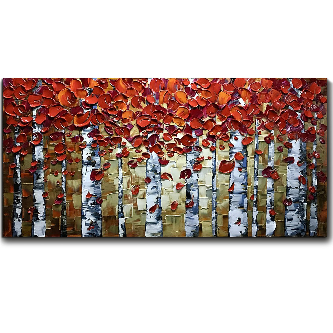 V-inspire Paintings, 20x40 Inch Modern Abstract Painting Red Birch Tree Oil Hand Painting 3D Hand-Painted On Canvas Abstract Artwork Art Wood Inside Framed Hanging Wall Decoration