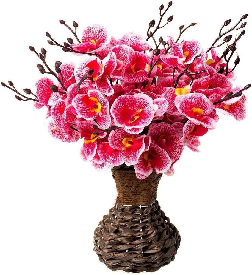 Artificial Orchid Silk Phalaenopsis Flower Arrangement with Handmade Vase for Home, Kitchen or Office Decoration (Red Orchids)
