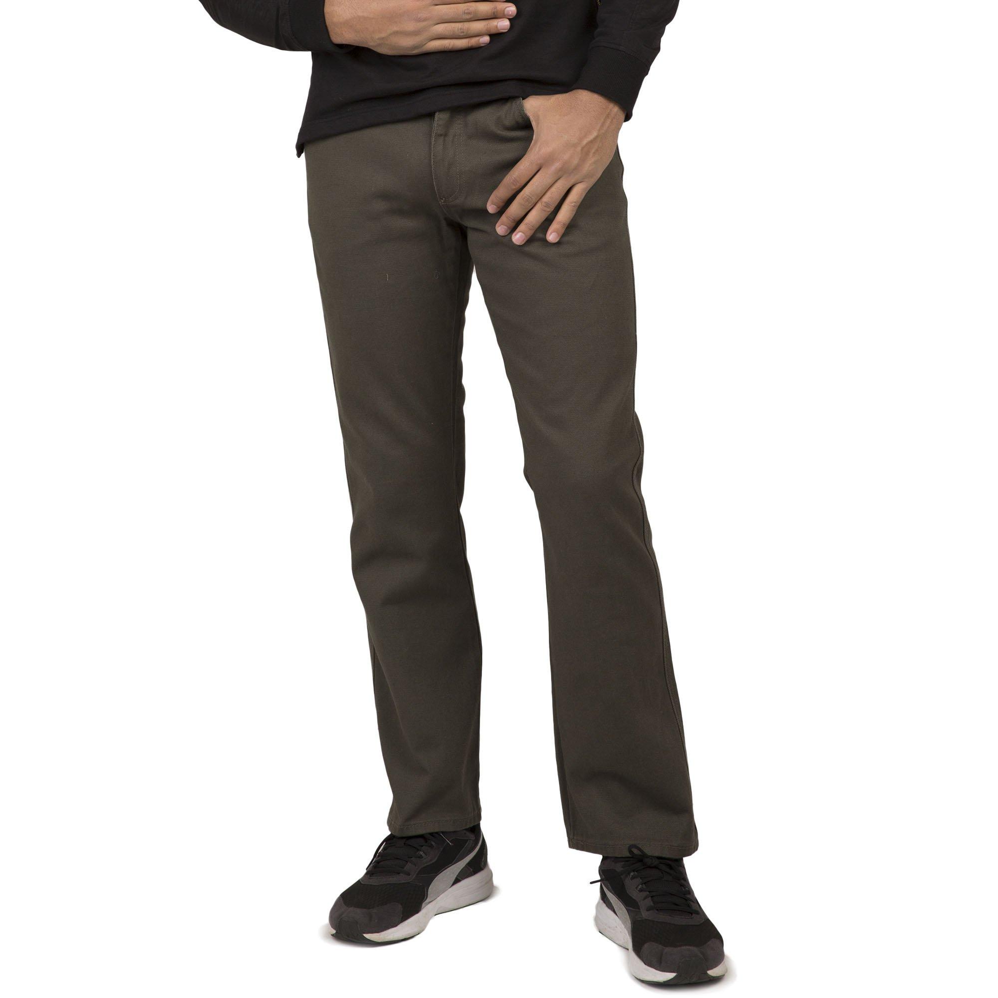 Vibes Gold Label Men Olive Military Green Color Denim 5-Pocket Slim Straight Leg Jeans Size 38