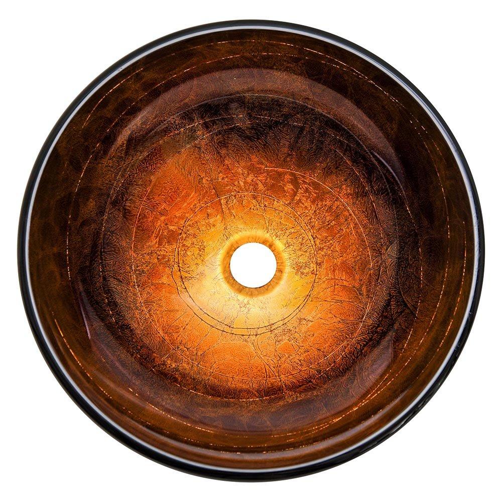 Yescom Artistic Tempered Glass Vessel Sink Bathroom Lavatory Round Bowl Pattern Basin