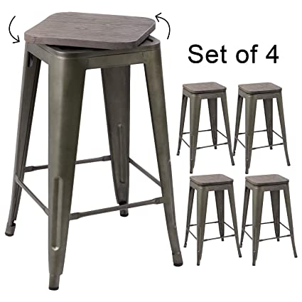Excellent Devoko Metal Bar Stool 24 Indoor Outdoor Swivel Stackable Barstools Modern Industrial Vintage Gun Counter Free Rotating Wood Top Bar Stools Set Of 4 Beatyapartments Chair Design Images Beatyapartmentscom