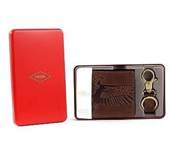 78b02cd5a0aff Fossil Geldbörse Eagle Gift Coin Pocket Box Braun ML3835 Herren RFID Geldbeutel  Portemonnaie Geldbeutel Set