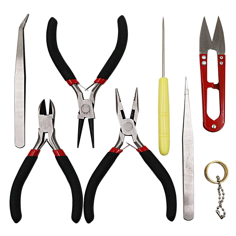 Tanjin 8PC Jewelry Tools with Pliers Tweezers Beading Tool Kit Jewelry Making DIY Tools by Tanjin