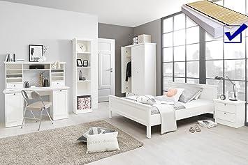 Jugendzimmer Landstrom 164 Weiss 7 Teilig Bett Komplett 140x200