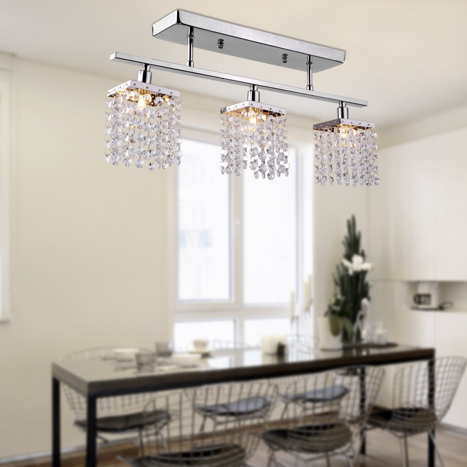 LightInTheBox Chandelier with 3 lights in Crystal Flush Mount Modern  Ceiling Light Fixture for Entry  Dining Room  Bedroom   Candle Chandeliers    Amazon com. LightInTheBox Chandelier with 3 lights in Crystal Flush Mount
