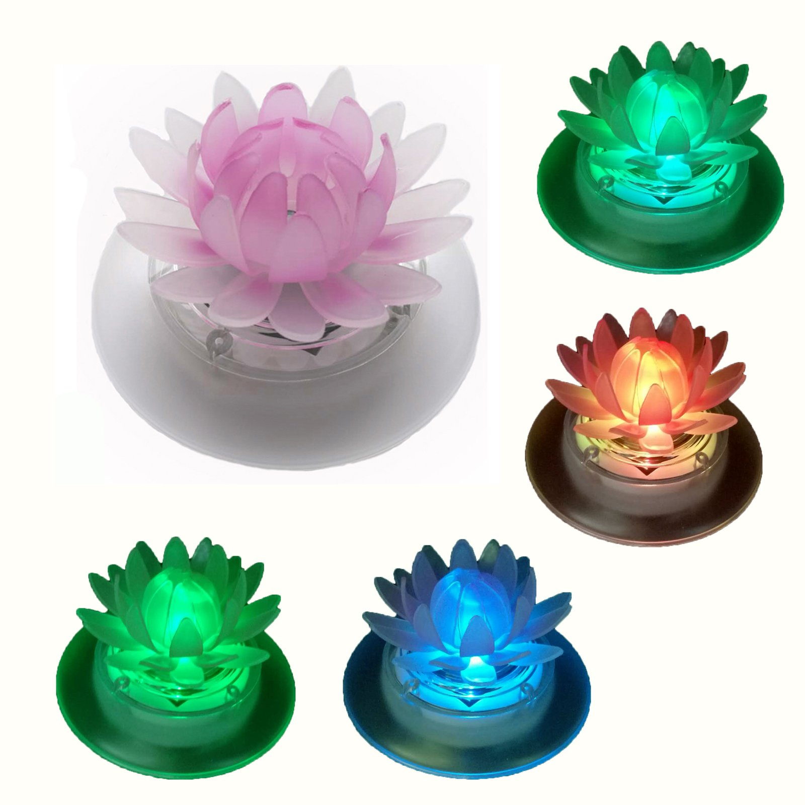 pearlstar Solar Floating Lights Waterproof LED RGB Floating Night Lights for Swimming Pool or Pond Decoration (1 Pcs Lotus)