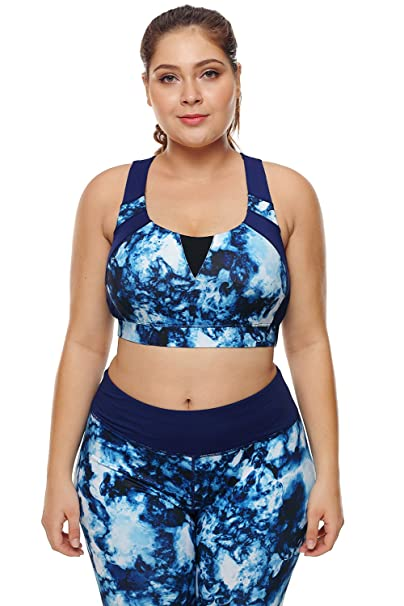 fb8a18eb4730f FUSENFENG Women Plus Size Racerback Sports Bras High Impact Yoga Gym Workout  Bra (Blue Abstract