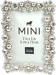 ef76fb9c7e9 Studio Decor Bejeweled Silver Tone Metal Mini Picture Frame 2 X 3