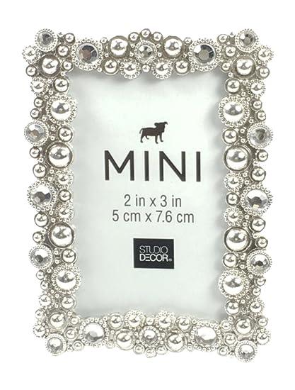 Amazon.com - Studio Decor Bejeweled Silver Tone Metal Mini Picture ...