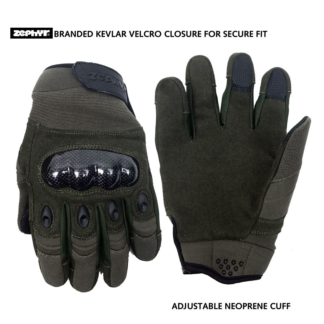 Zephyr Tactical Full Finger Carbon Fiber Knuckle Gloves w/Touchscreen Technology - Dark Olive - Small by Zephyr Tactical
