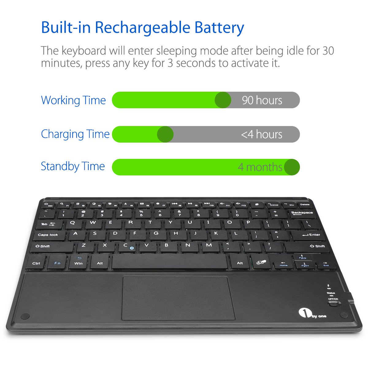 1byone Ultra-Slim Wireless Bluetooth Keyboard with Built-in Multi-touch Touchpad and Rechargeable Battery for Android and Windows, Black by 1byone (Image #5)