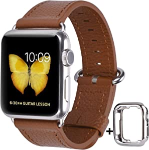JSGJMY Leather Band Compatible with Apple Watch 38mm 40mm 42mm 44mm Women Men Strap for iWatch SE Series 6 5 4 3 2 1(Light Brown with Silver Clasp, 38mm/40mm M/L)