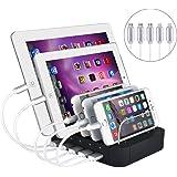 Evfun USB充電スタンド 収納充電 5ポート同時充電 充電ステーション 1A /2.4A iPhone iPod iPad Android スマホ/タブレット対応 (ブラック) (ブラッ-ケーブル5本付き)