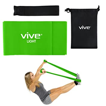 Straight Workout Bands by Vive (Light) - Resistance Exercise Equipment - Elastic Fitness Training