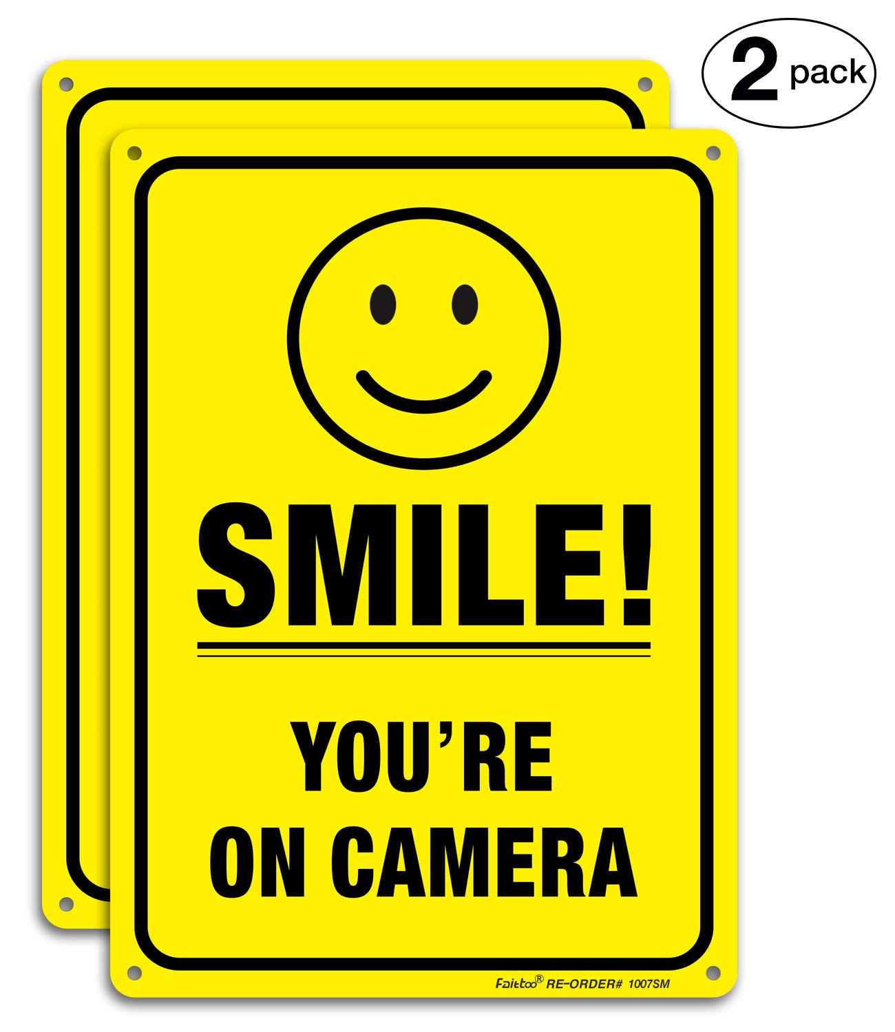 (2 Pack) Smile You're On Camera Video Surveillance Sign - 10 x7 Inches .040 Rust Free Heavy Duty Aluminum - Indoor or Outdoor Use for Home Business CCTV Security Camera,UV Protected & Reflective 713EpF6bhwL