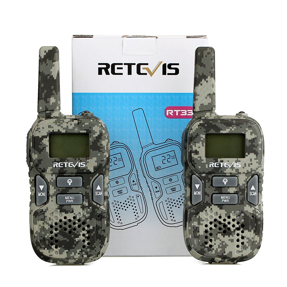 Retevis RT33 Talkie Walkie Enfants PMR446 8 Canaux /Écran LCD 10 Tonalit/és d/'Appel VOX Lampe Torche Volume Ajustable Talkie Walkie Jouet Cadeau pour Enfant Camouflage, 1 Paire