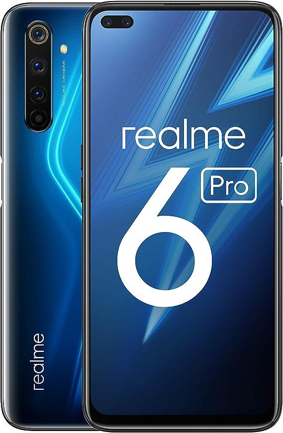 "realme 6 Pro – Smartphone de 6.6"", 8 GB RAM + 128 GB ROM, Procesador OctaCore Snapdragon 720G, Cuádruple Cámara AI 64MP, Dual Sim, Color Lightning Blue: Amazon.es: Electrónica"