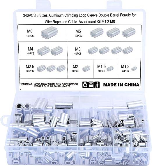 50 Kitchen-dream Aluminium-Crimpschlaufe f/ür 1.5mm Drahtseil und Kabel