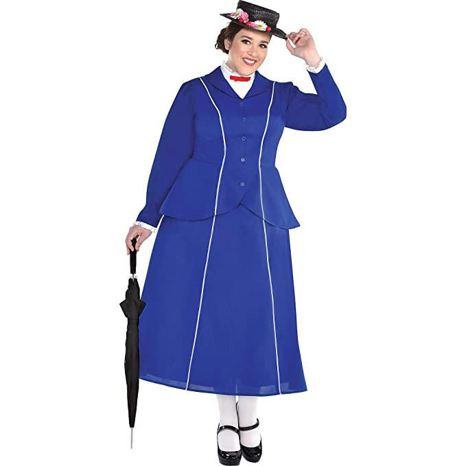 1900s, 1910s, WW1, Titanic Costumes SUIT YOURSELF Mary Poppins Halloween Costume for Women Mary Poppins Plus Size Includes Hat $44.99 AT vintagedancer.com