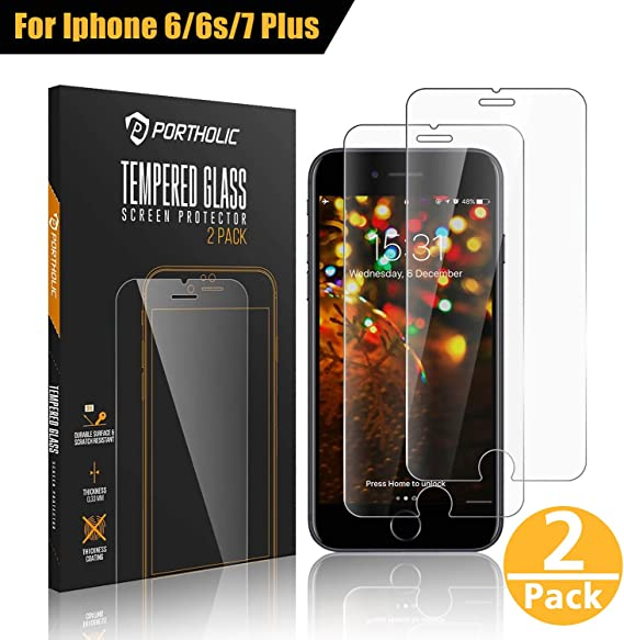 PORTHOLIC iPhone 6 Plus 6s Plus 7 Plus 8 Plus Protector de Pantalla,Cristal Vidrio Templado Premium 5.5 [2-Unidades][9H Dureza][3D Touch][Alta Definicion] Anti-Explosion,Water,Oil,Fingerprints/0.33mm: Amazon.es: Electrónica