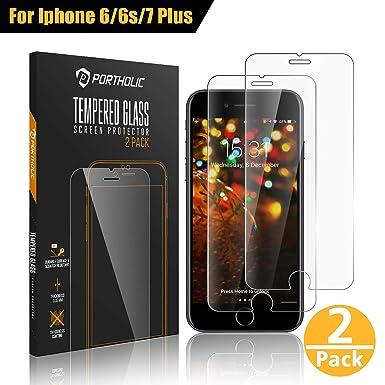 87b21a7ca99 PORTHOLIC iPhone 6 Plus 6s Plus 7 Plus 8 Plus Protector de Pantalla,Cristal  Vidrio