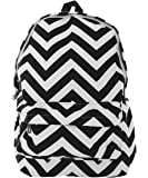 Pop Fashion Womens, Canvas, Backpack, Chevron Print, Zip Compartment, Bag, Patterned, Print Bag, School Backpack, Beach Bag