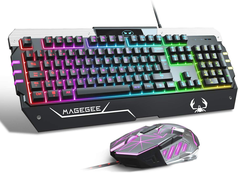 Juego de teclado y ratón de juego RGB (FR Layout), Rainbow ...
