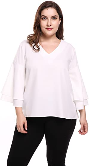 Ladies Chiffon Blouse Half Sleeve Ruffle V-Neck Over Size Tops Shirt for Women