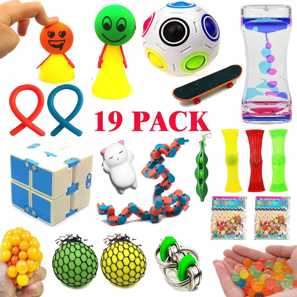 19 Pack Sensory Fidget Toys Bundle, Stress Relief Toys for Adults and Kids- Fidget Cube/Bike Chain/Liquid Motion Timer /Rainbow Ball Magic/Mesh Ball- Perfect for ADD/ADHD