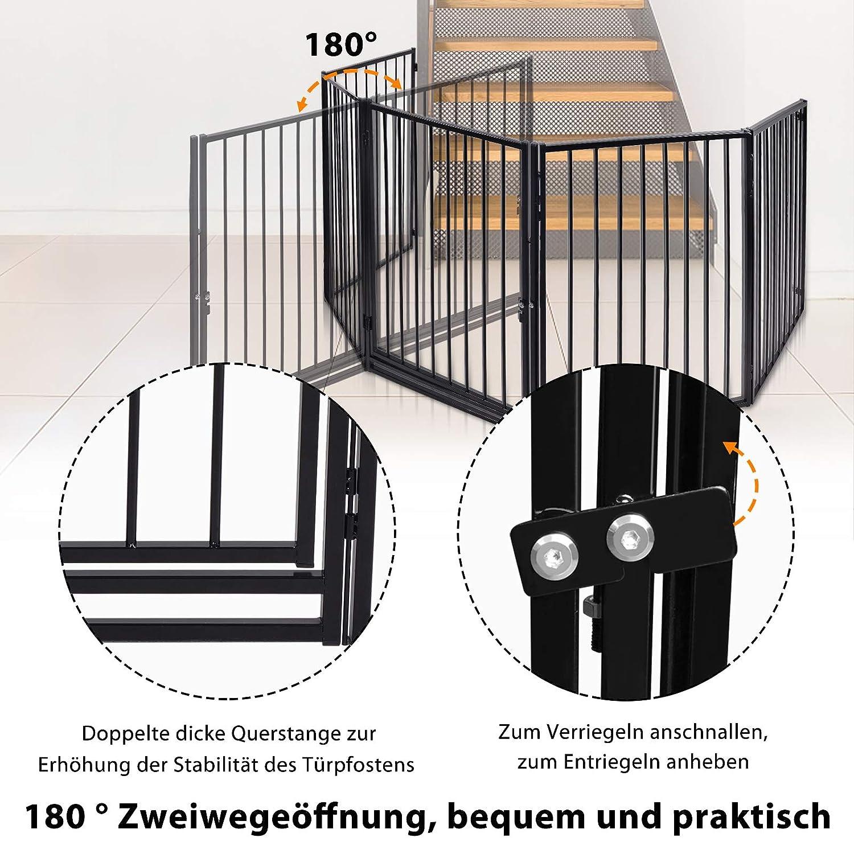 Hengda Schwarz Stahl Kaminschutzgitter 305 cm L/änge Faltbar Kinderschutzgitter 5-Teilig Schutzgitter Ofenschutzgitter mit T/ür f/ür Kinder und Haustier