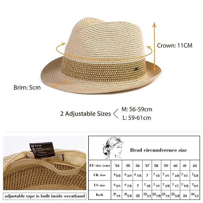 92dc4d0bf75 Packable Straw Fedora Panama Sun Summer Beach Hat Cuban Trilby Men Women 55-61cm  Fancet