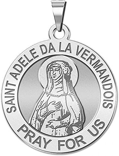 PicturesOnGold.com Saint Adele De La Vermandois Round Religous Medal 14K Yellow or White Gold or Sterling Silver