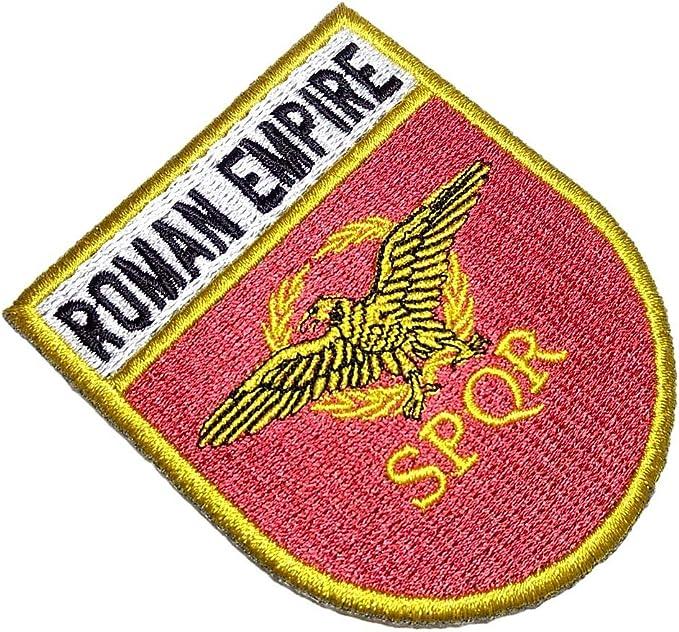 Emblema con la bandera del Imperio Romano con etiqueta 100% bordada, para planchar o coser, tamaño 2.67 x 3.15 pulgadas: Amazon.es: Hogar