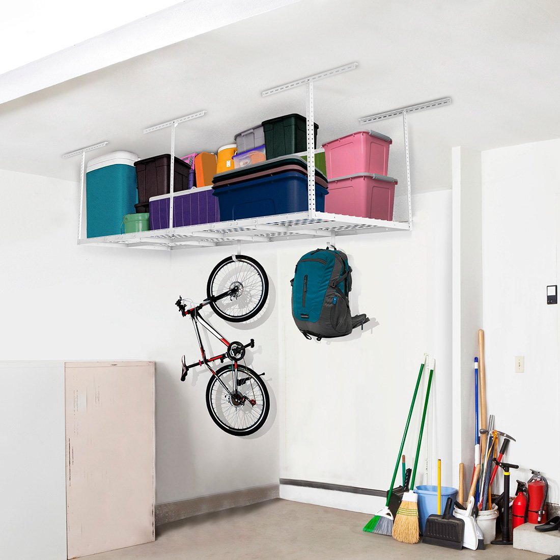 FLEXIMOUNTS 3x8 Overhead Garage Storage Rack Adjustable Ceiling Storage Rack Heavy Duty, 96'' Length x 36'' Width x 40'' Height, White by FLEXIMOUNTS