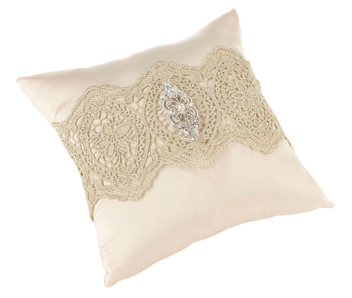 Lillian Rose Vintage Gold Lace Ivory Satin Wedding Ring Pillow