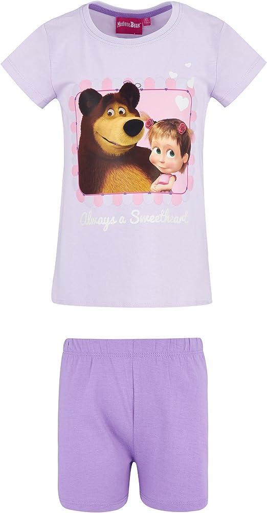 Girls Masha and the Bear Short Sleeve Pyjamas Pj/'s