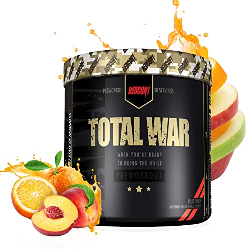 RedCon1 Total War Newly Formulated Pre Workout Energy Powder, Caffeine, Citrulline Malate, Beta-Alanine, Agmatine, Taurine, Caffeine, Nitric Oxide 30 Serving Fruit Punch