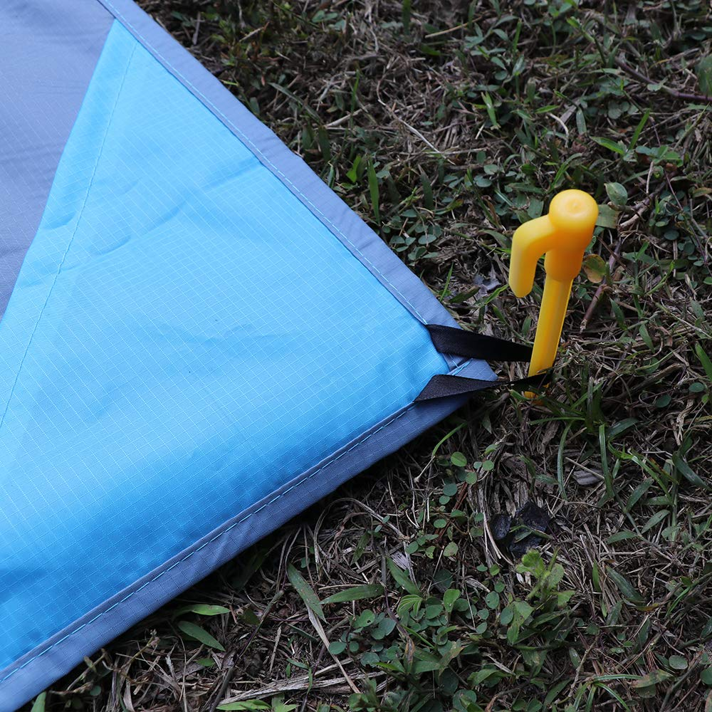 Beach Blue Hiking Sports ohderii Compact Outdoor Beach Blanket Pocket Picnic Mat Ground Cover Waterproof /& Sand Proof with Carabiner /& 4 Stacks for Travel Camping Festivals 91 x 63 Festivals 91 63